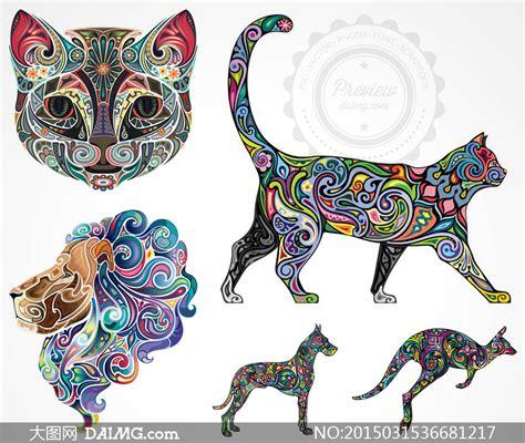 彩色动物纹身刺青图案矢量素材v3 大图网设计素材下载
