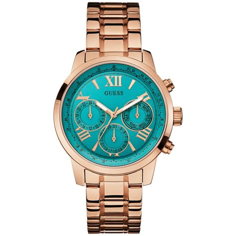 Fossil Fs083 Green Rosegold guess womens goldtone stainless steel bracelet 42mm in green lyst