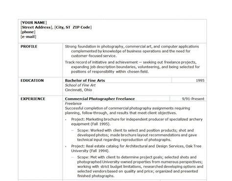 Photographers Resume by Resume For A Photographer Freelance Photographer Resume