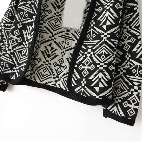 tribal pattern jackets black long sleeve tribal oracle pattern jacket shein