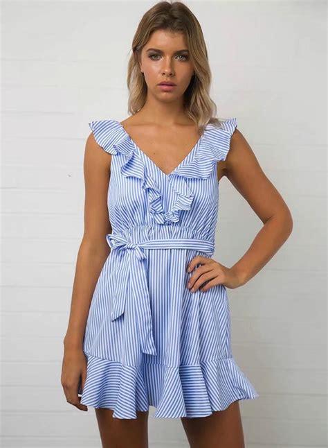 Dress Striped s flounce hem lace up slim fit striped dress roawe