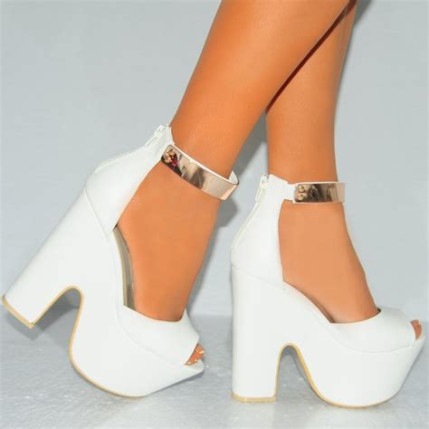 white high heel wedges white peep toe gold ankle cuff high heel wedge