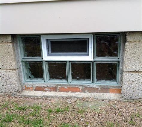 glass block installation 32x16 basement windows in