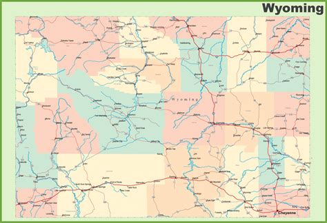 map of wyoming usa map of towns in wyoming my