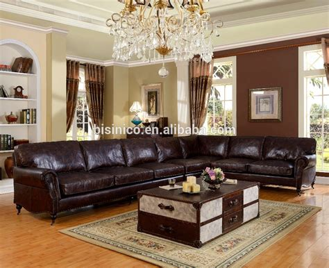 Bisini Luxurious Genuine Leather Living Room Sofa Durable Durable Living Room Furniture