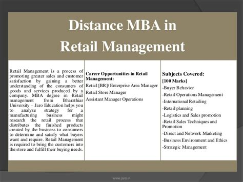 Mba In Material Management Through Distance Education by Bharathiar Distance Mba In Retail Management Jaro Education