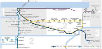 Vancouver Subway Map by Skytrain Vancouver Metro Map Canada