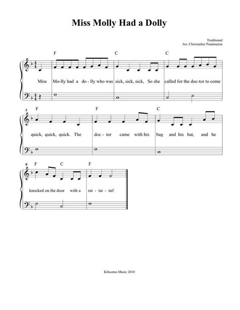 free music for babies free printable miss molly had a dolly sheet music and song