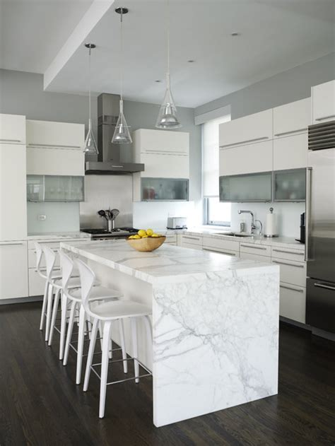 white marble kitchen island the granite gurus whiteout wednesday 5 white kitchens with quot waterfall quot islands