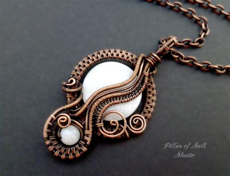 wire wrapped jewelry handmade copper jewelry white
