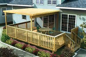 Metal Awnings For Decks Project Plan 90003 Large Easy Raised Deck W Trellis