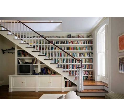 built in bookcase staircase hearth home