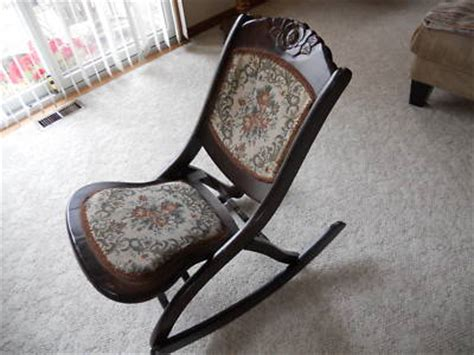 early 1900 s antique folding wood rocking chair