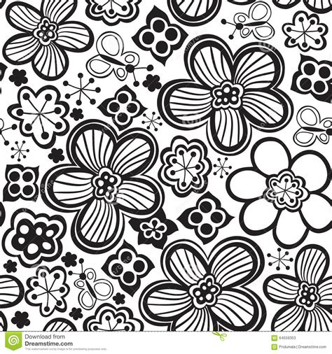 flower pattern in black and white vector flower pattern black and white seamless botanic