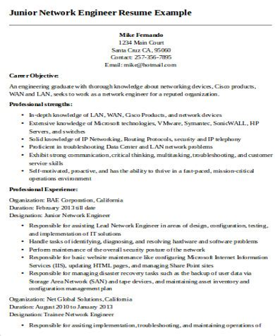 junior net developer resume sle sle resume of network engineer 28 images network