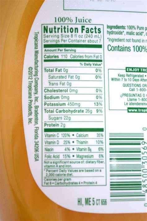 orange juice nutrition label ingredients pictures to pin