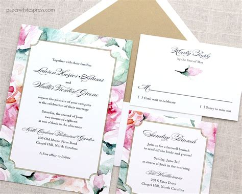 Floral Paper Wedding Invitations by Floral Watercolor Wedding Invitations Paperwhites