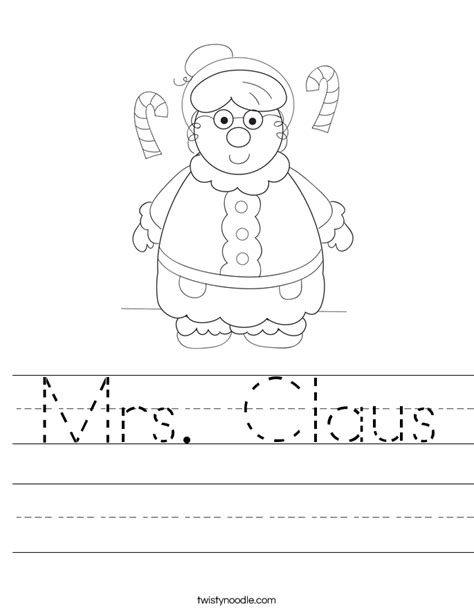 mrs claus coloring page twisty noodle mrs claus worksheet twisty noodle