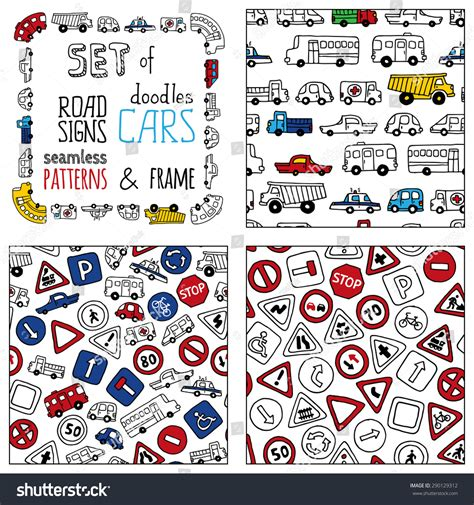 sign and doodle vector set doodles road signs cars stock vector 290129312