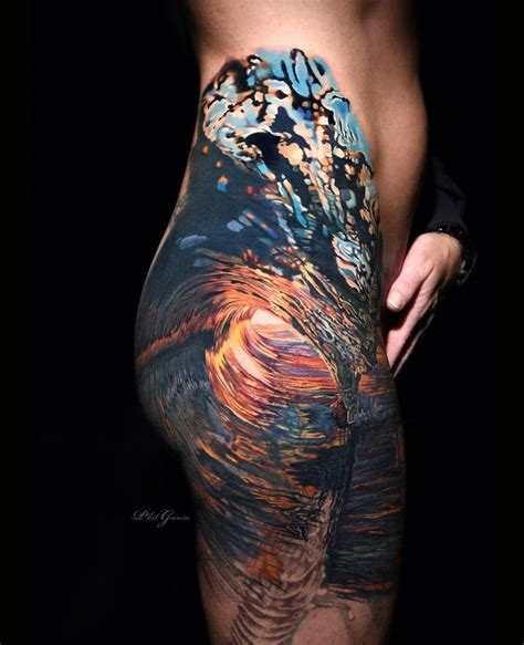realistic wave girls side piece best tattoo design ideas