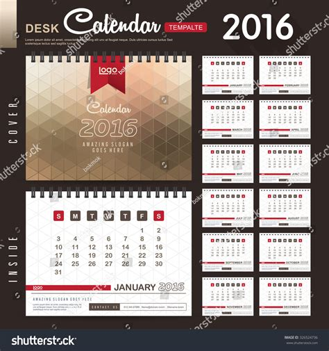 design table calendar 2016 desk calendar 2016 vector design template with abstract
