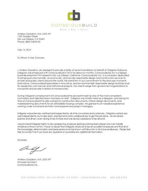 Reference Letter Architect letter of recommendation intern architect by gregoire