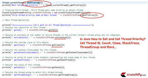 Java Set in java how to set and get thread priority get thread id