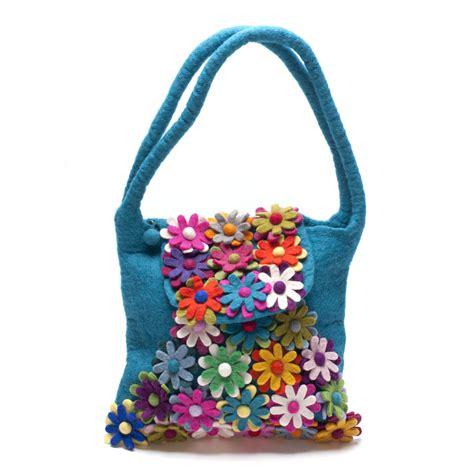 Handmade Felt Bags - handmade felt blissful flower teal bag one stop shop