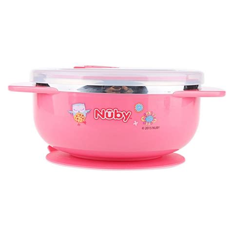 nuby stainless steel suction bowl with lid pink