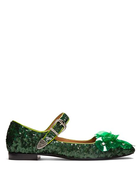sequin shoes toga sequin square toe embellished ballet flats in green
