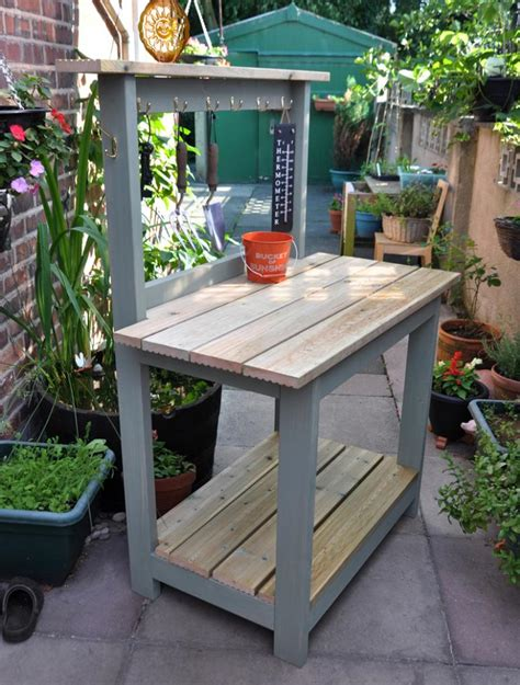 Garden Potting Bench Ideas Custom Diy Reclaimed Wood Potting Bench With Storage And Hooks Painted With Gray Chalk Paint