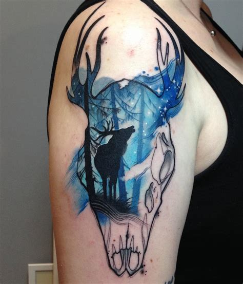 deer amp skull on s upper arm best tattoo design ideas