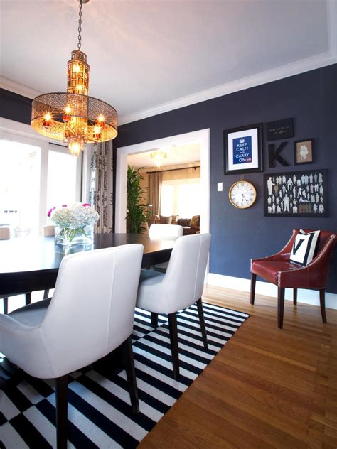 eclectic dining room with blue suede wallpaper striped