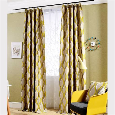 long bedroom curtains long yellow geometric jacquard poly cotton blend country