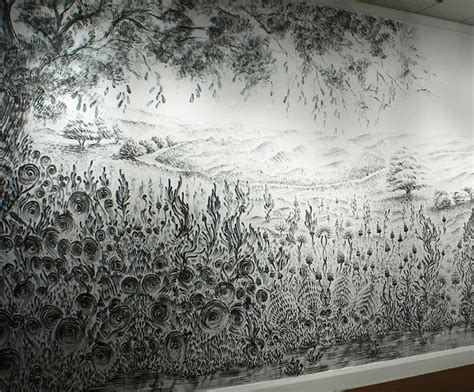 Lukisan Im The Melody Carvel By Char Coll a finger painted mural made with charcoal dust colossal