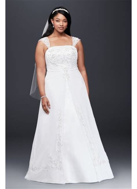 A Line Plus Size Wedding Dress with Cap Sleeves   David's