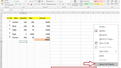 how to select sheets how to select edit all excel sheets at once same time