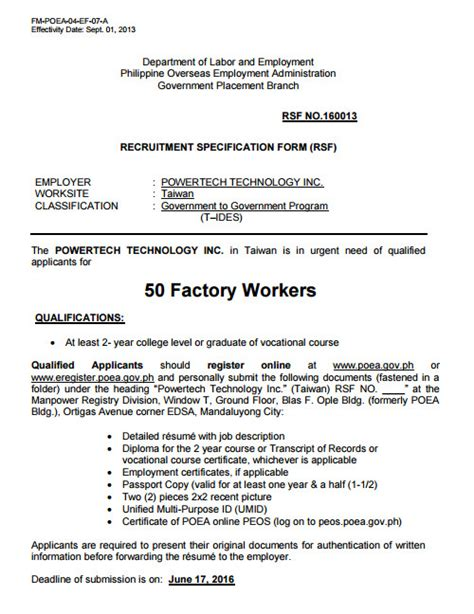 50 factory workers for taiwan powertech technology inc