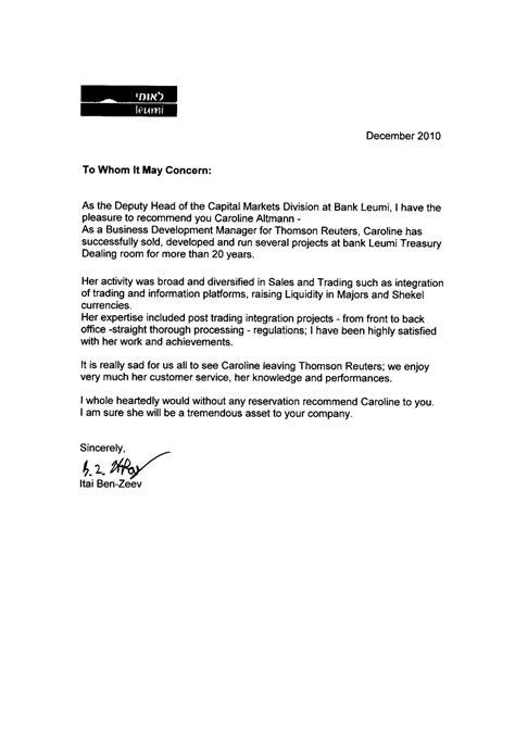 Recommendation Letter For Consultant Caroline Altmann Financial Sales Business Development Consultant Recommendations