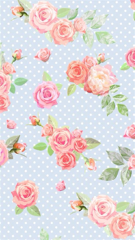 Wallpaper Stiker Motif Colour Pink Flower 1 blue vintage floral dots iphone phone wallpaper background