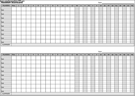 Baseball Scorecard Excel Template by Baseball Scorecard Template Sle Templates