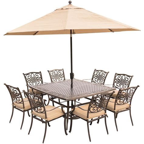 Hanover Traditions 9 Piece Aluminum Outdoor Dining Set