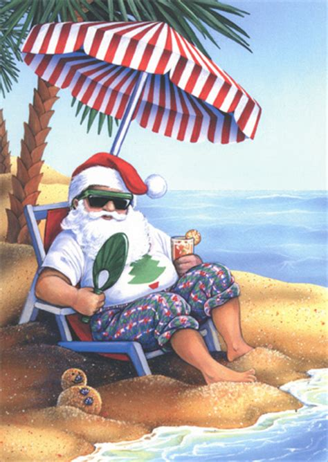 santa  beach warm weather christmas card  lpg