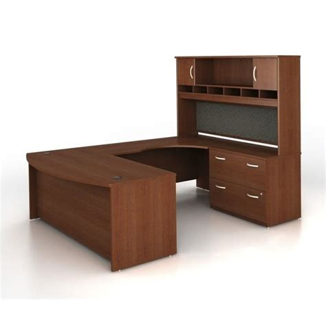 Bush Bbf Series C 4 Piece U Shape Right Hand Computer Desk Mahogany Computer Desk