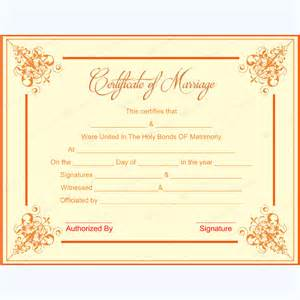 formal design marriage certificate format