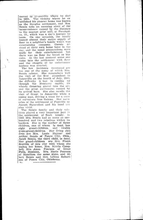 Janesville Gazette Records Mrs Martha Bemis Ninety One Years Day Newspaper Article Clipping