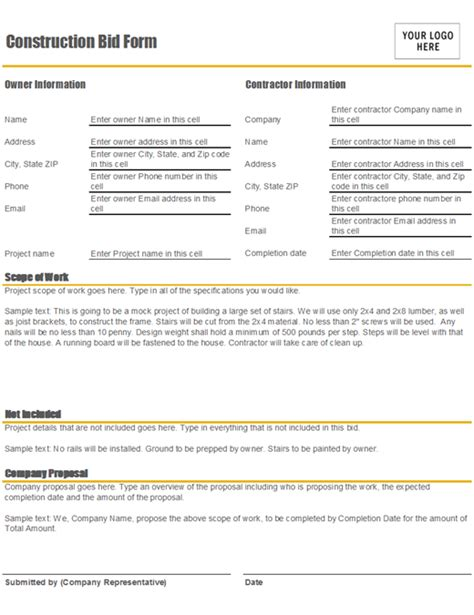 Construction Bid Form Construction Bid Template