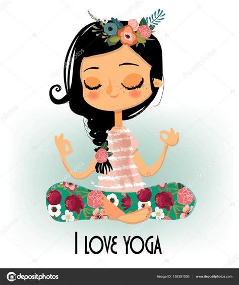 imagenes yoga animadas chica de dibujos animados lindo yoga vector de stock