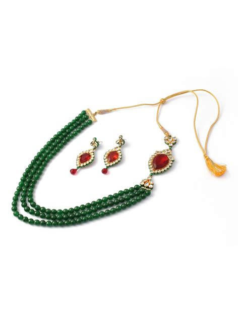 green necklace buy posh by rathore jewelleryset emerald green necklace