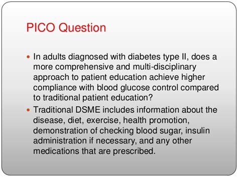 pico question template diabetes self management education